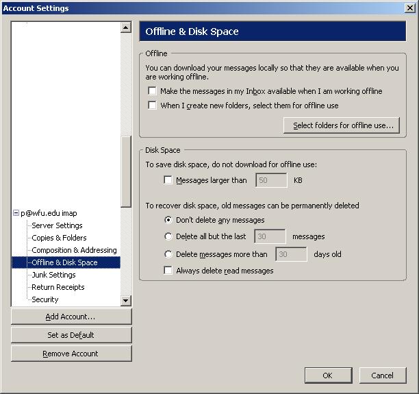 Set up Thunderbird to download/sync IMAP account offline